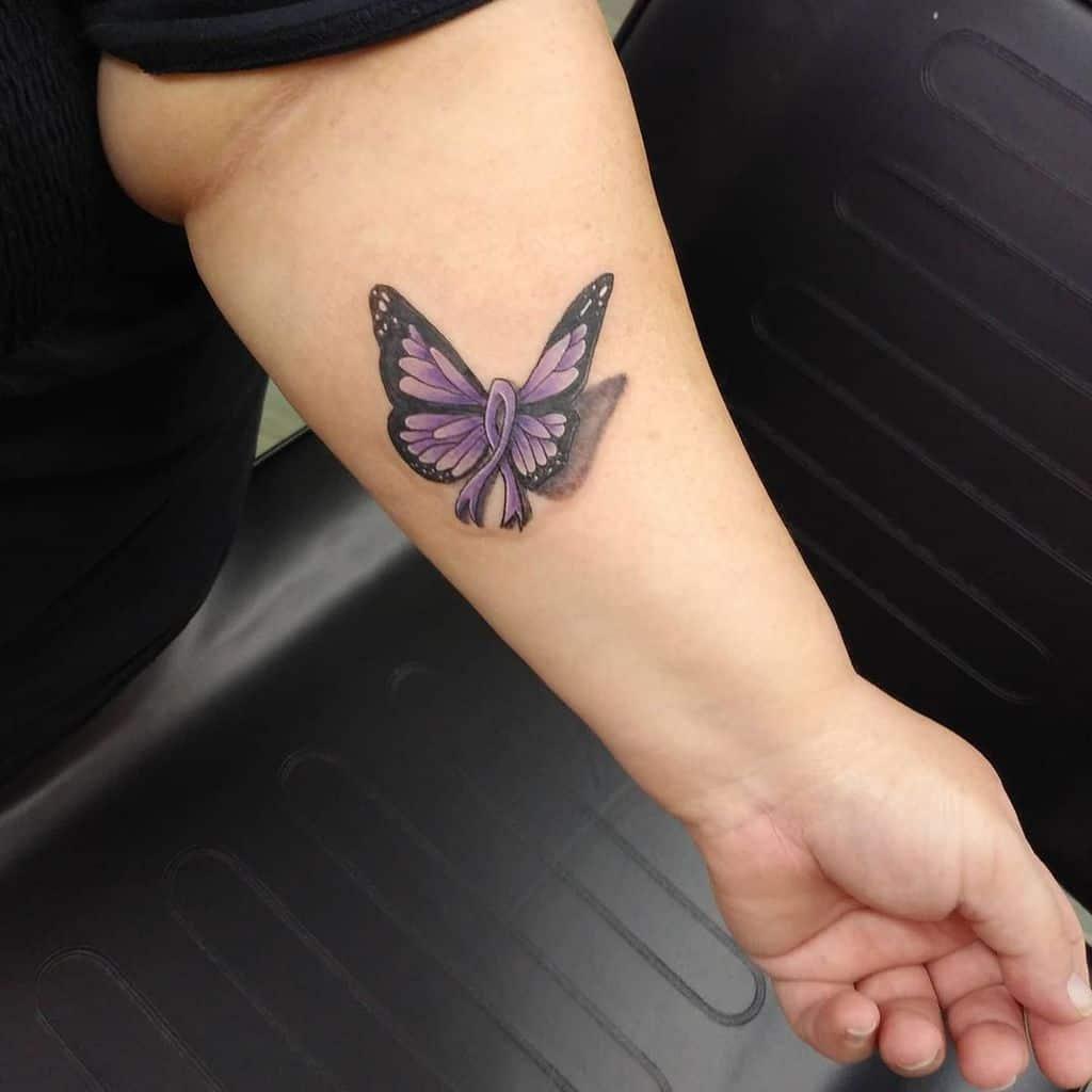Purple Butterfly Forearm Tattoo ink_insurgency