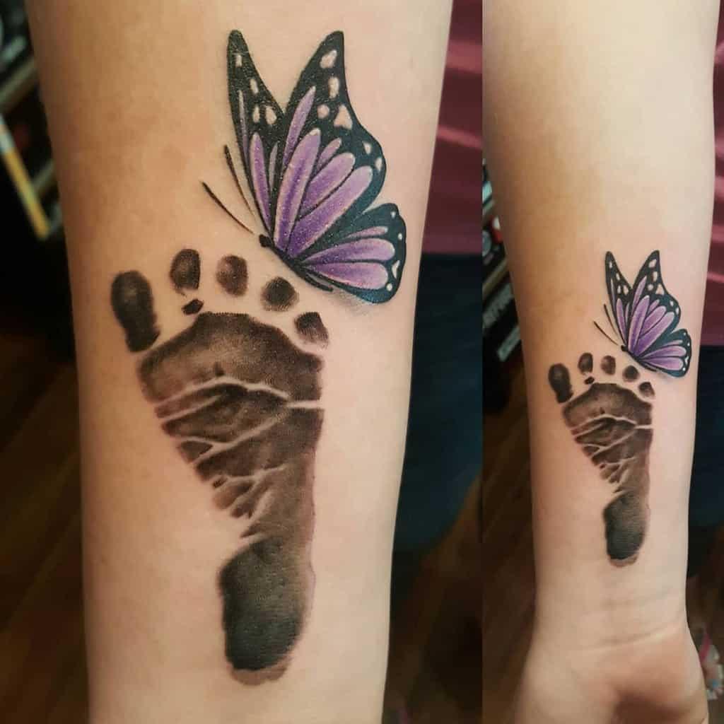 Purple Butterfly Forearm Tattoo jimwagnertattoos