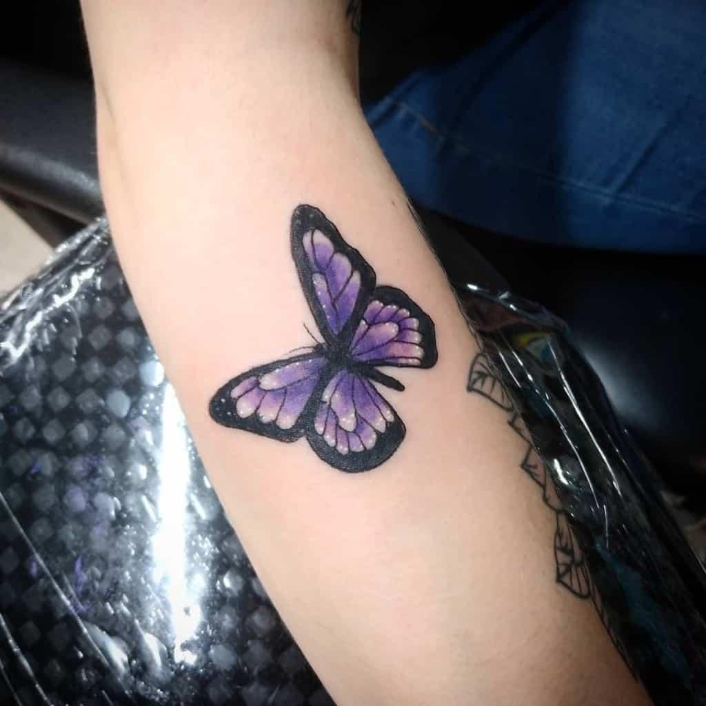 Purple Butterfly Forearm Tattoo mello_vybez