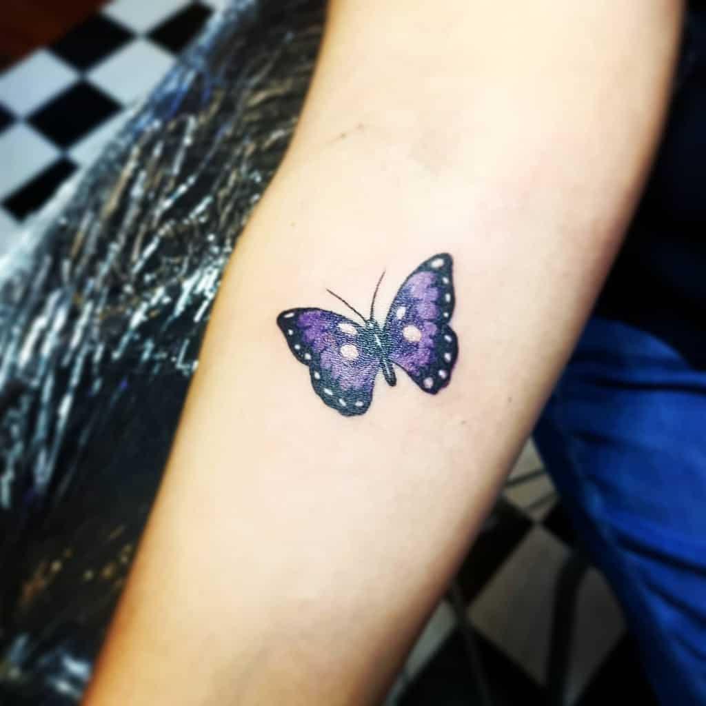 Purple Butterfly Forearm Tattoo nadz_tattoo