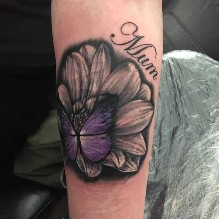 Purple Butterfly Forearm Tattoo samantha_walker_456