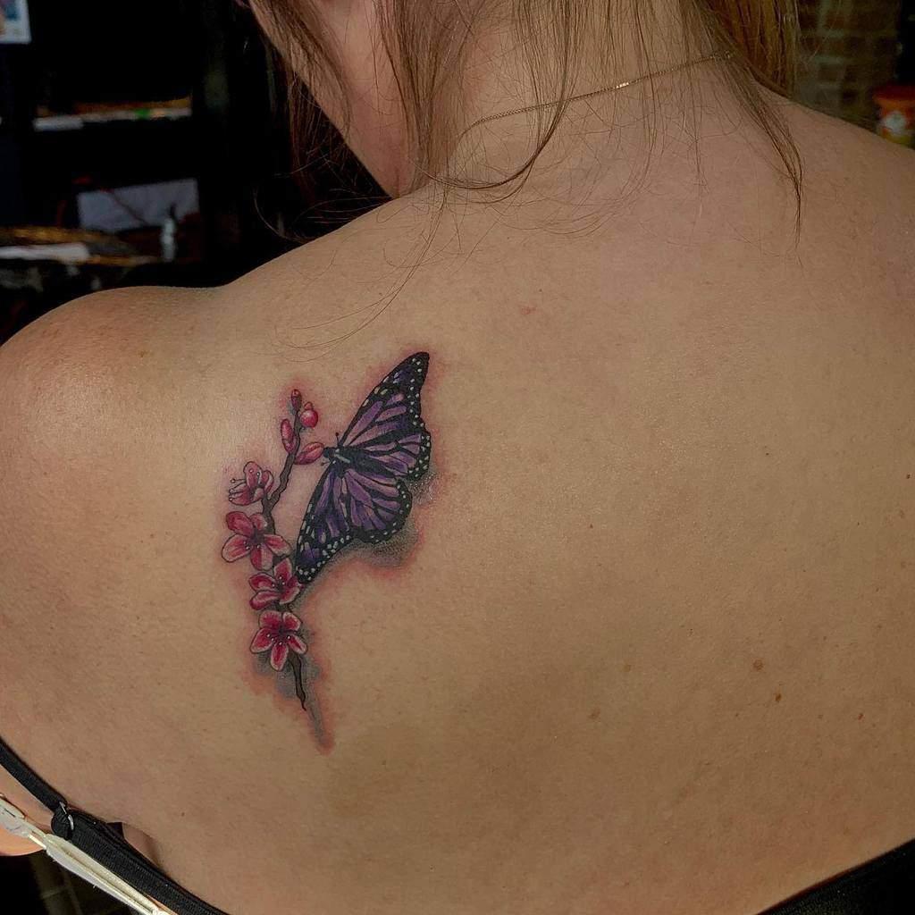 Purple Butterfly Shoulder Tattoo geeroetattoo
