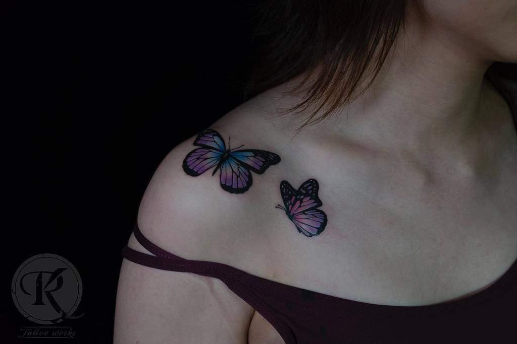 Purple Butterfly Shoulder Tattoo roykwancw