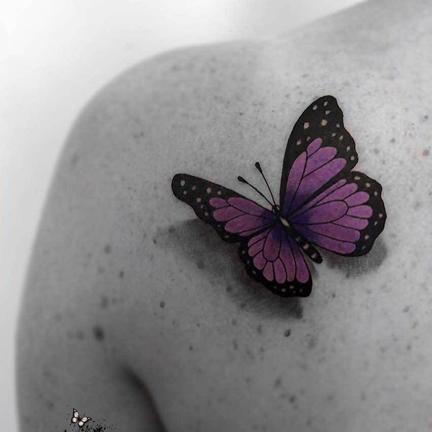 Purple Butterfly Shoulder Tattoo zindyink