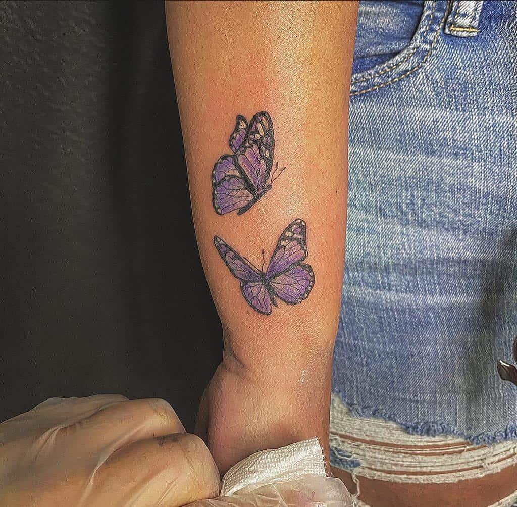 Purple Butterfly Wrist Tattoo bad_ombre_