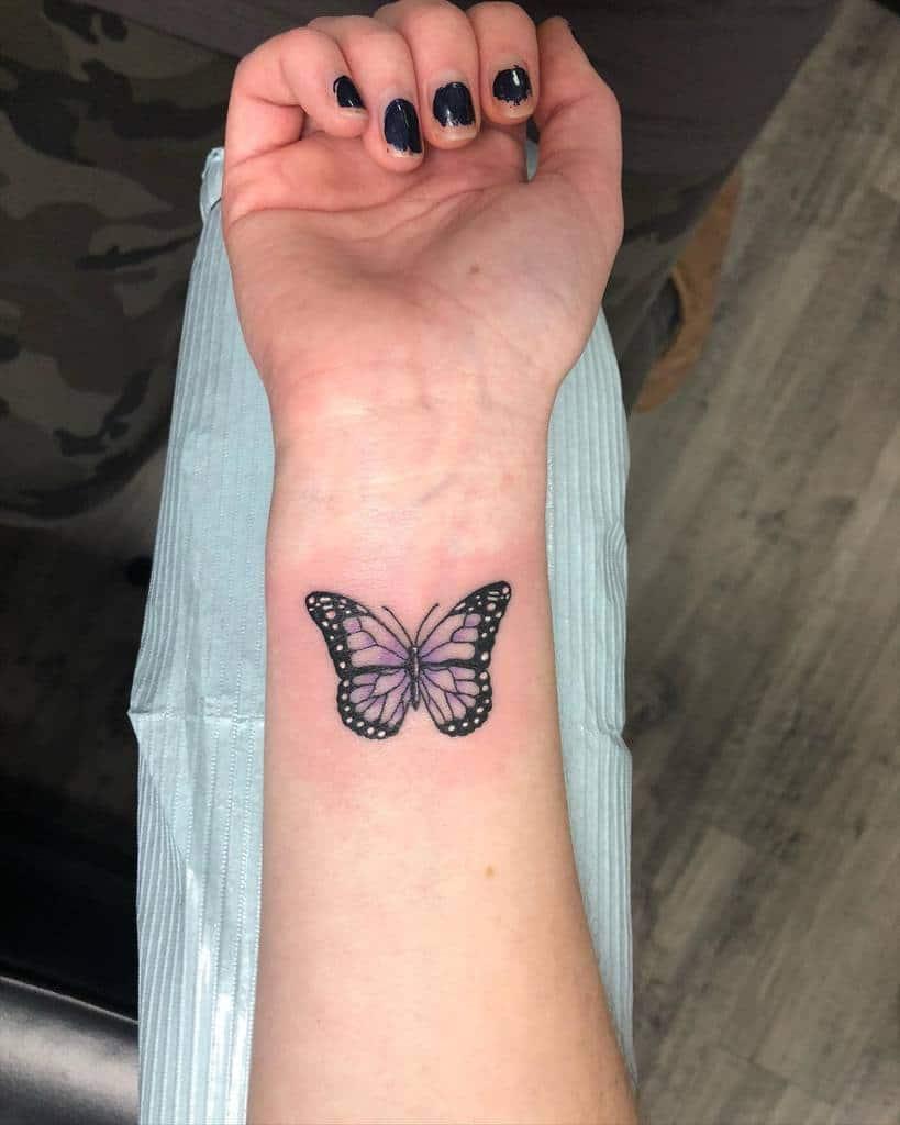 Purple Butterfly Wrist Tattoo kel.connors