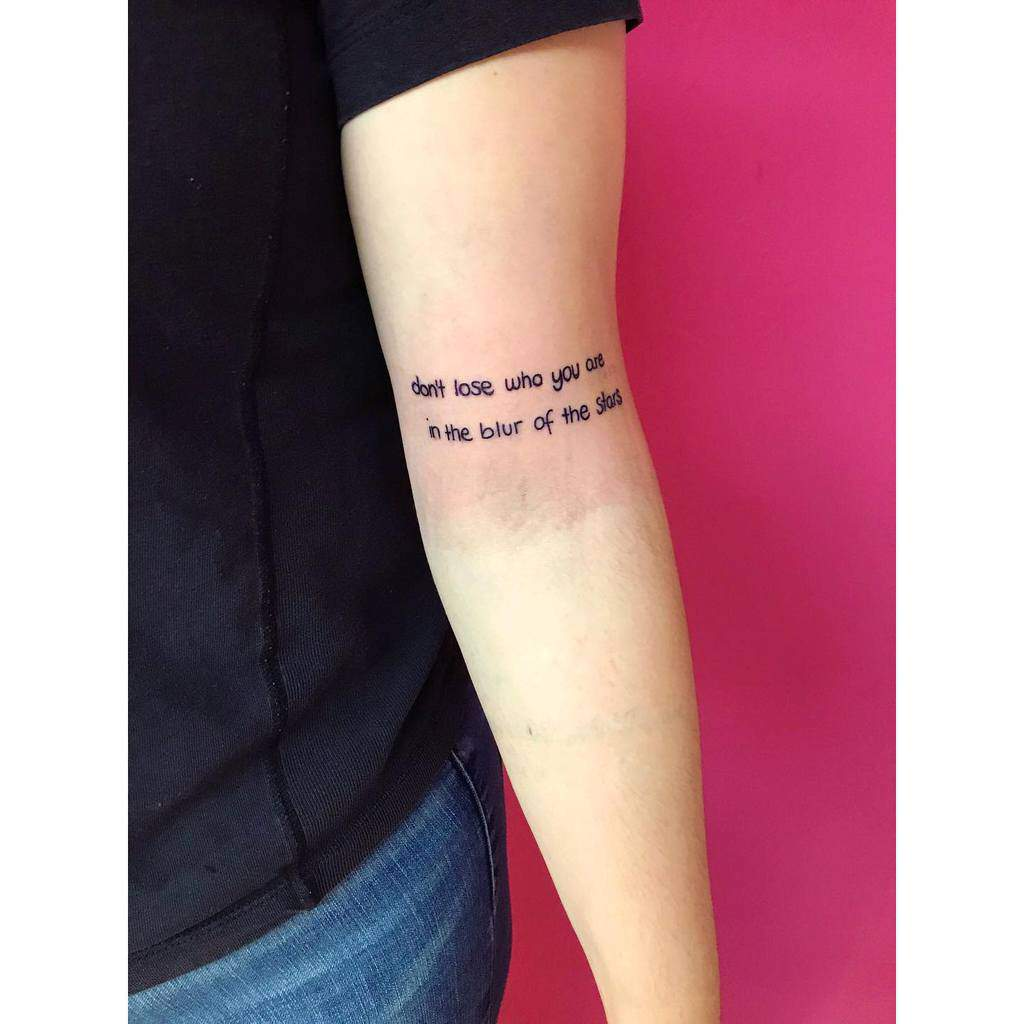 Qoute Arm Tattoos for Women ink.a.bell