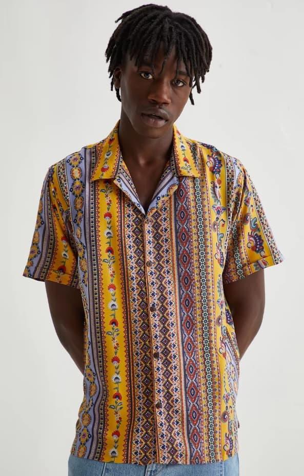 Raga Man Batik Stripe Button Down Shirt