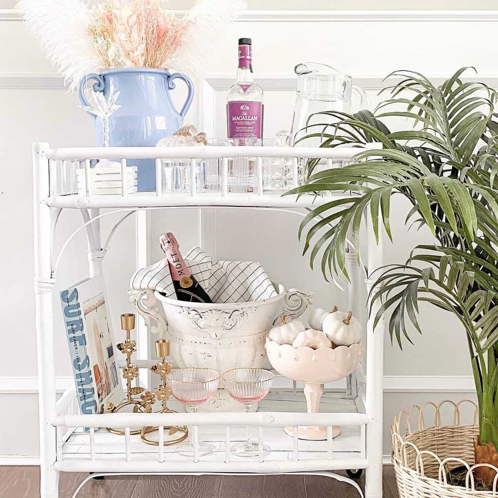 Rattan or Wicker Bar Cart Ideas -beachybluehome