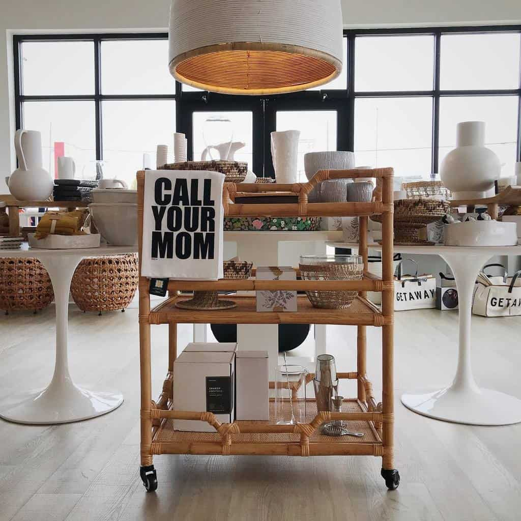 Rattan or Wicker Bar Cart Ideas -checkeredmoon