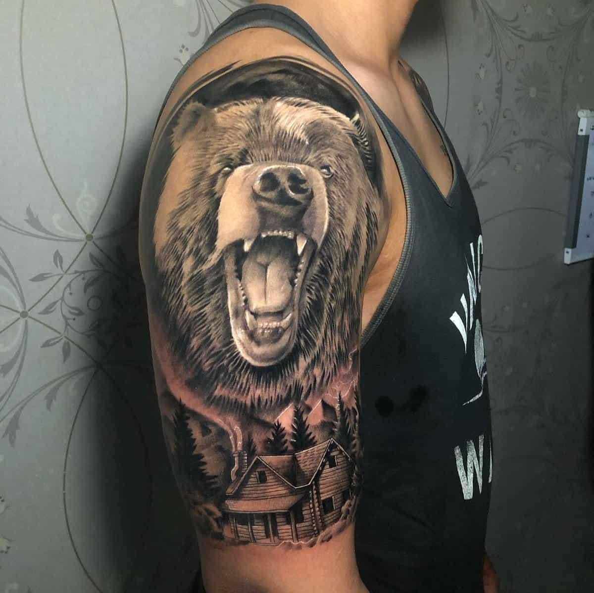 Realistic Black Bear Tattoo awanktattoos
