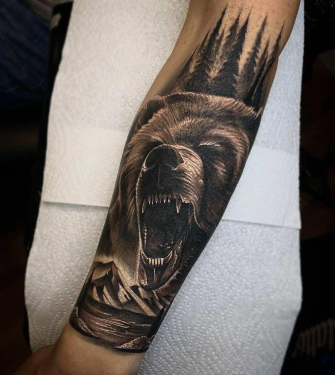 Realistic Black Bear Tattoo leedobbstattooer