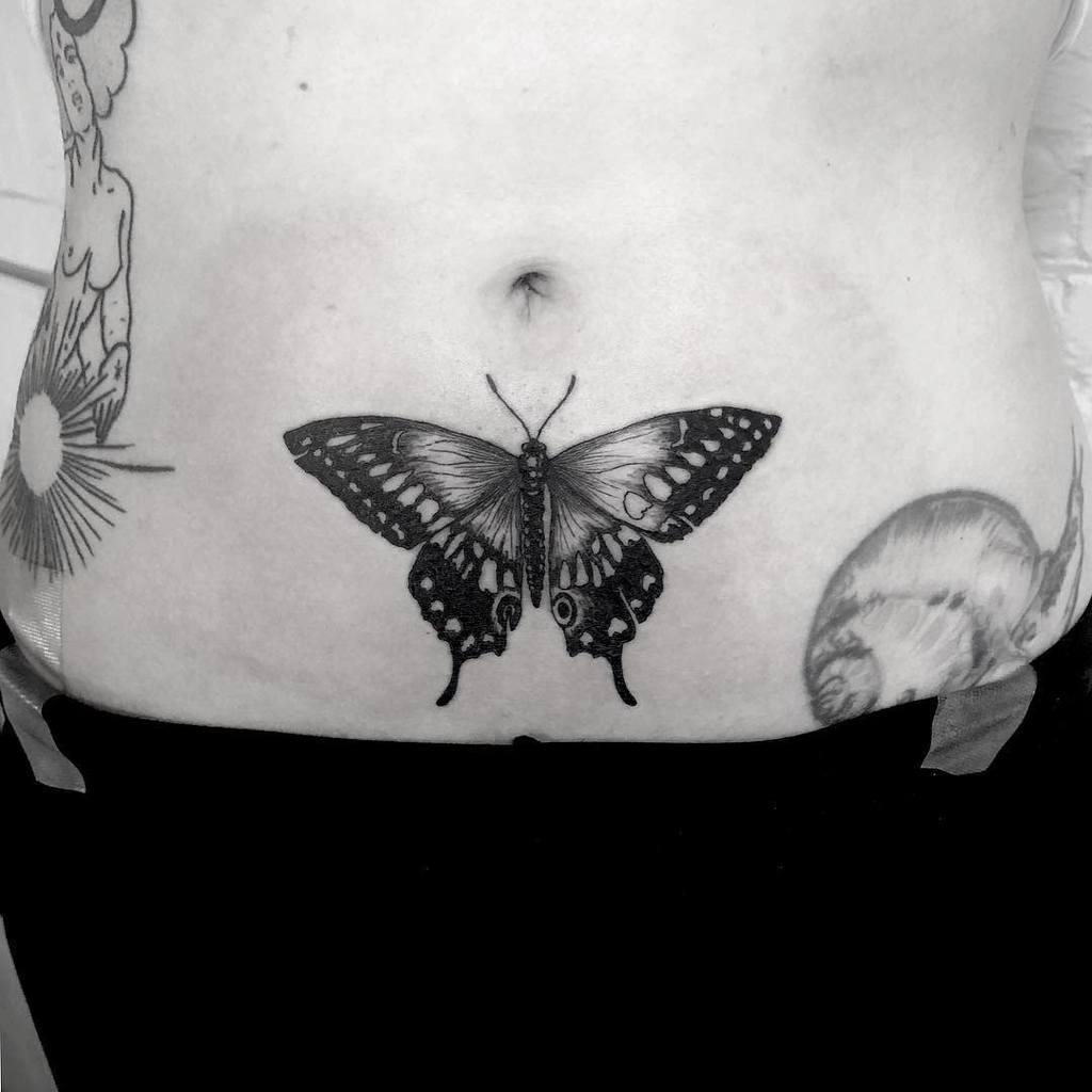 Realistic Black Butterfly Tattoo briannachtwn