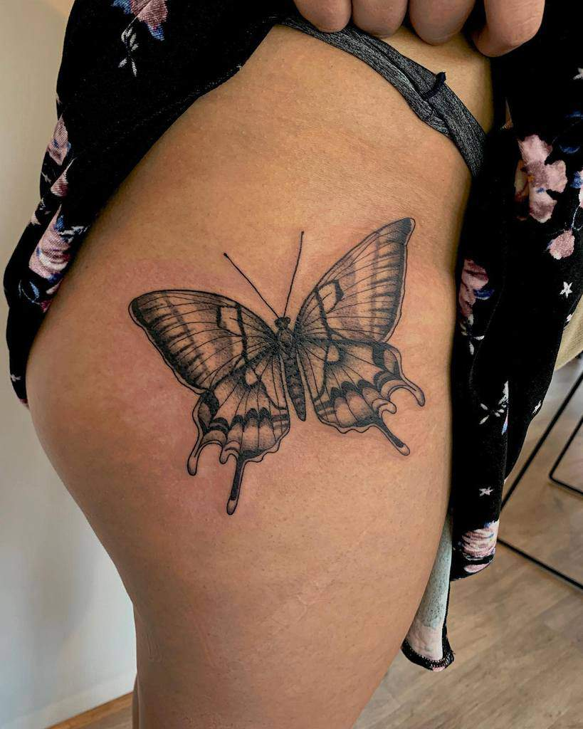 Realistic Black Butterfly Tattoo claritycreature
