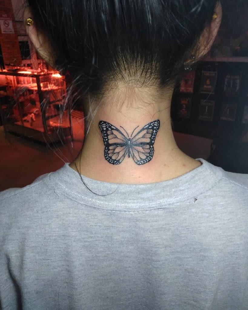Realistic Black Butterfly Tattoo dennishermosa