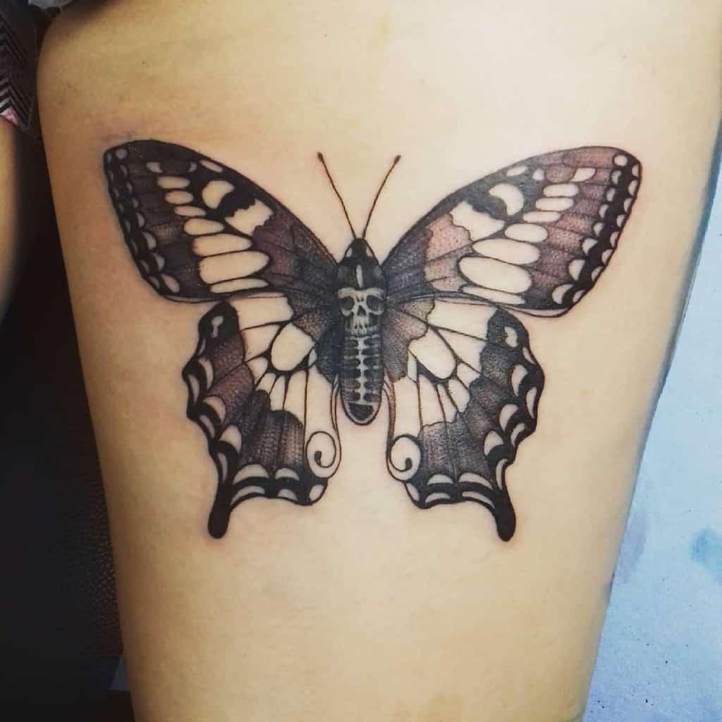 Realistic Black Butterfly Tattoo felixrodrigueztattooist