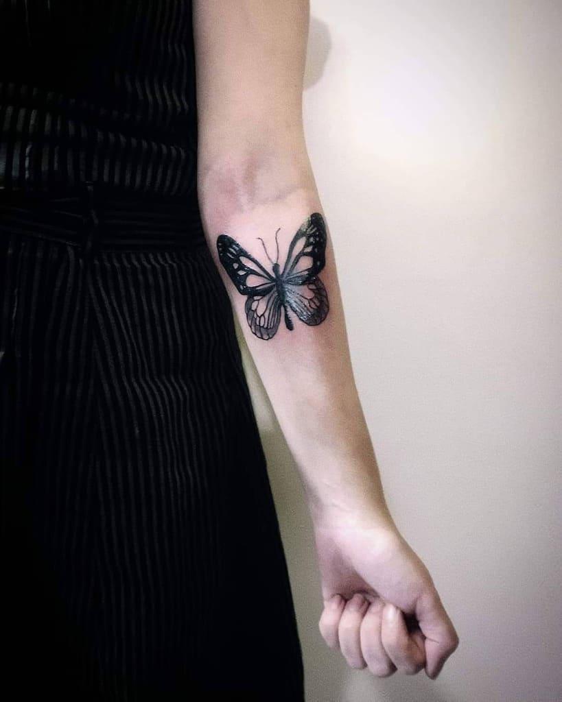 Realistic Black Butterfly Tattoo paedotattoo