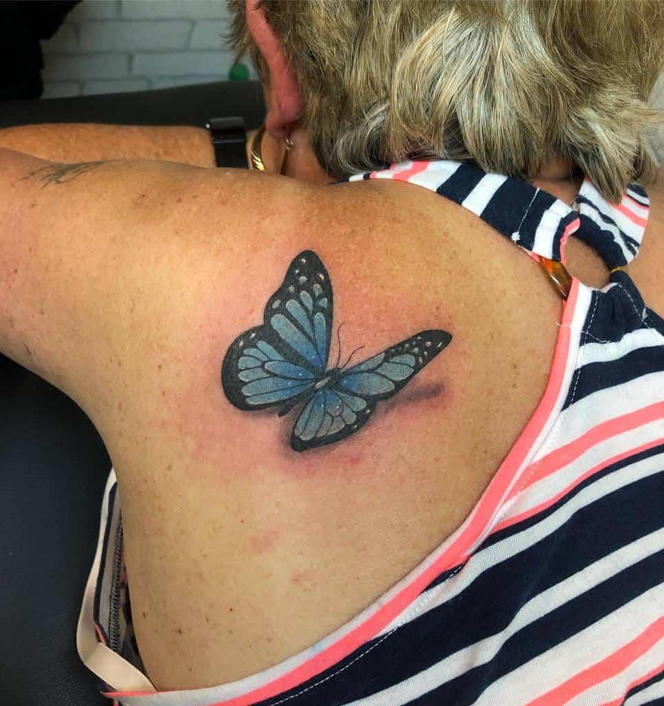 Realistic Blue Butterfly Tattoos eastbournetattooclub