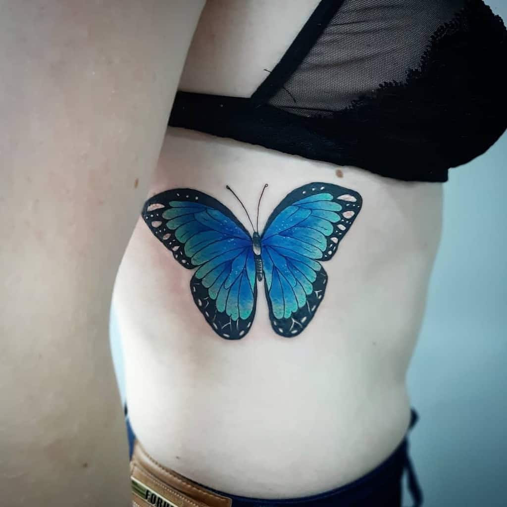 Realistic Blue Butterfly Tattoos iugue