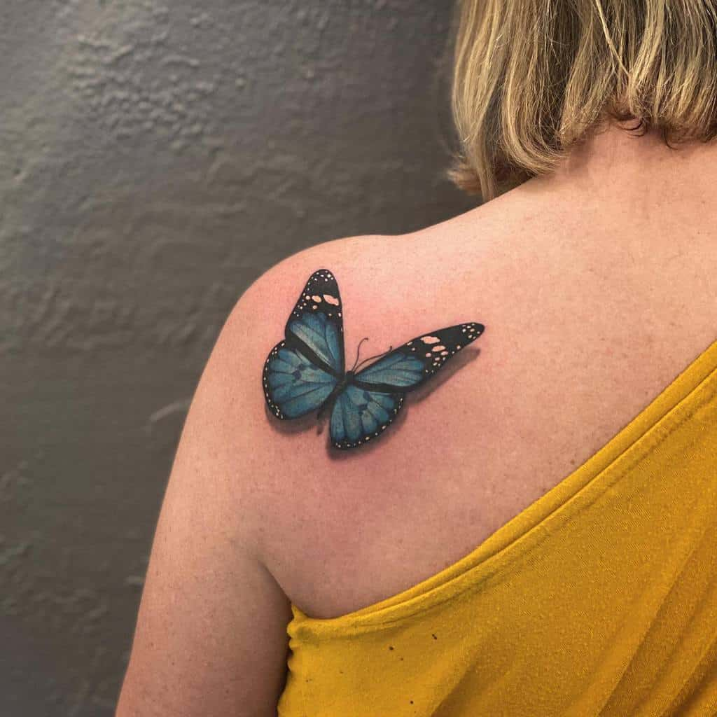 Realistic Blue Butterfly Tattoos north88ink