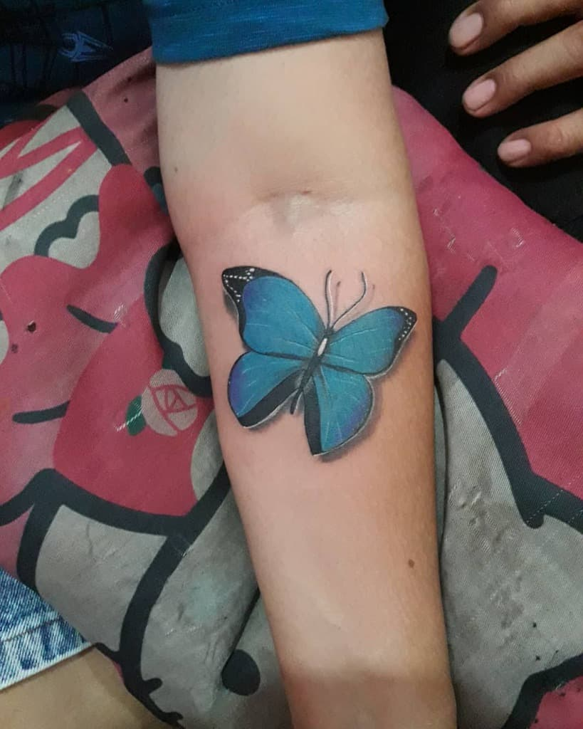 Realistic Blue Butterfly Tattoos r_a_tattoo