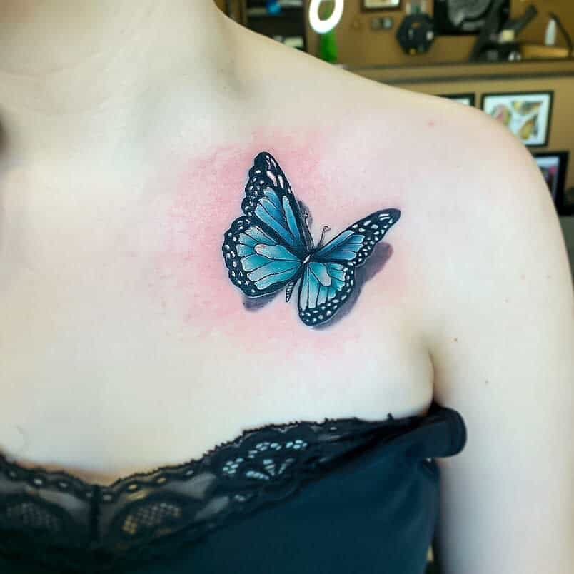 Realistic Blue Butterfly Tattoos yavonnie_a