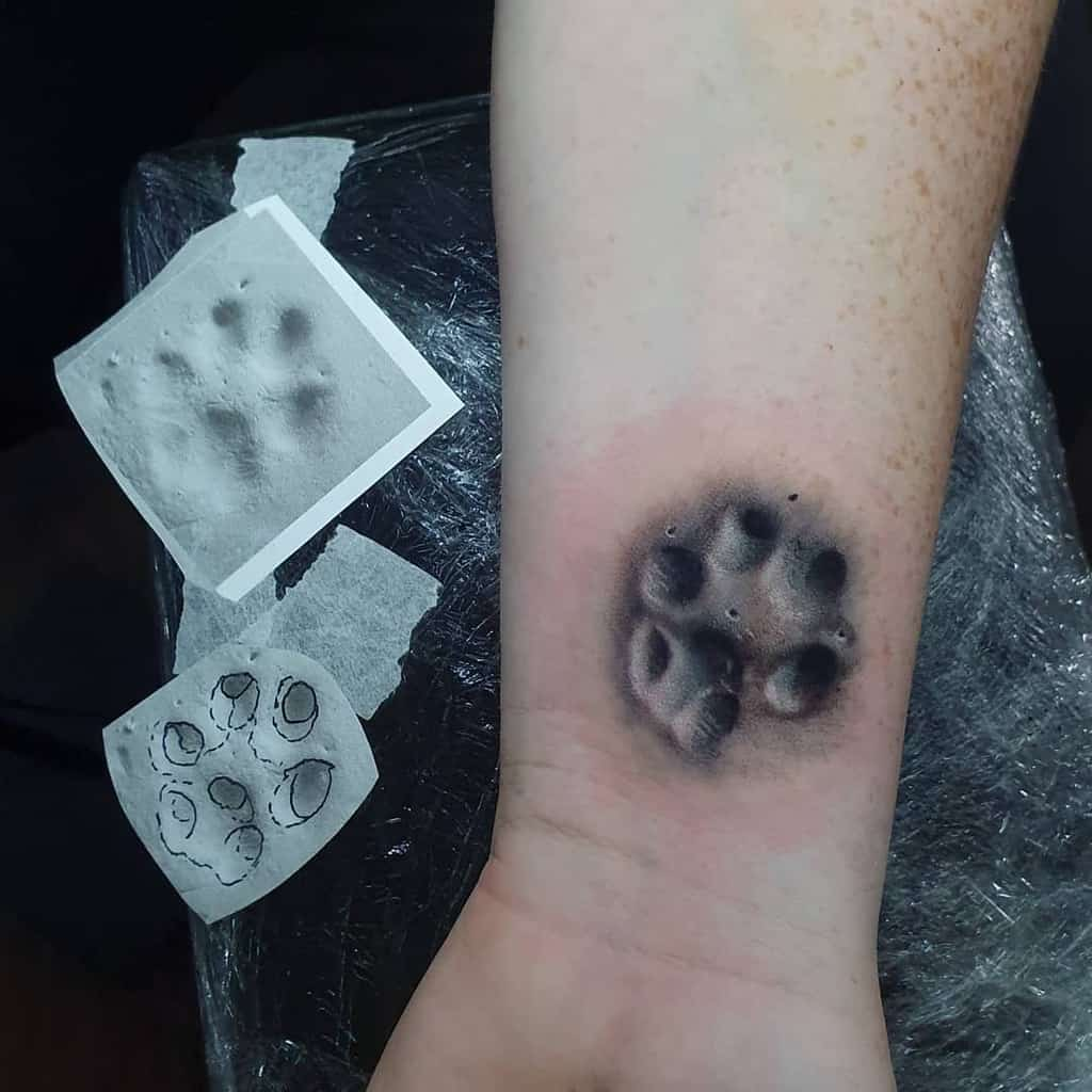 Realistic Cat Paw Print Tattoo dean.gunther