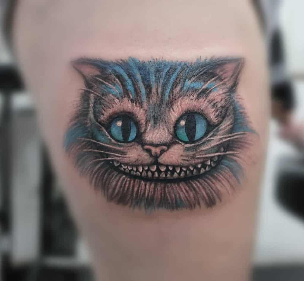 Realistic Cheshire Cat Tattoo bodyculttattoo