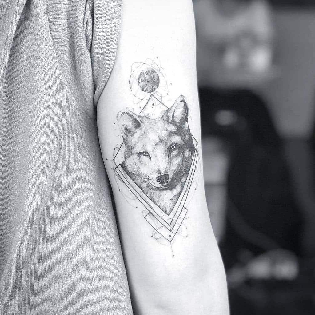 Realistic Geometric Fox Tattoo hardinkstudio