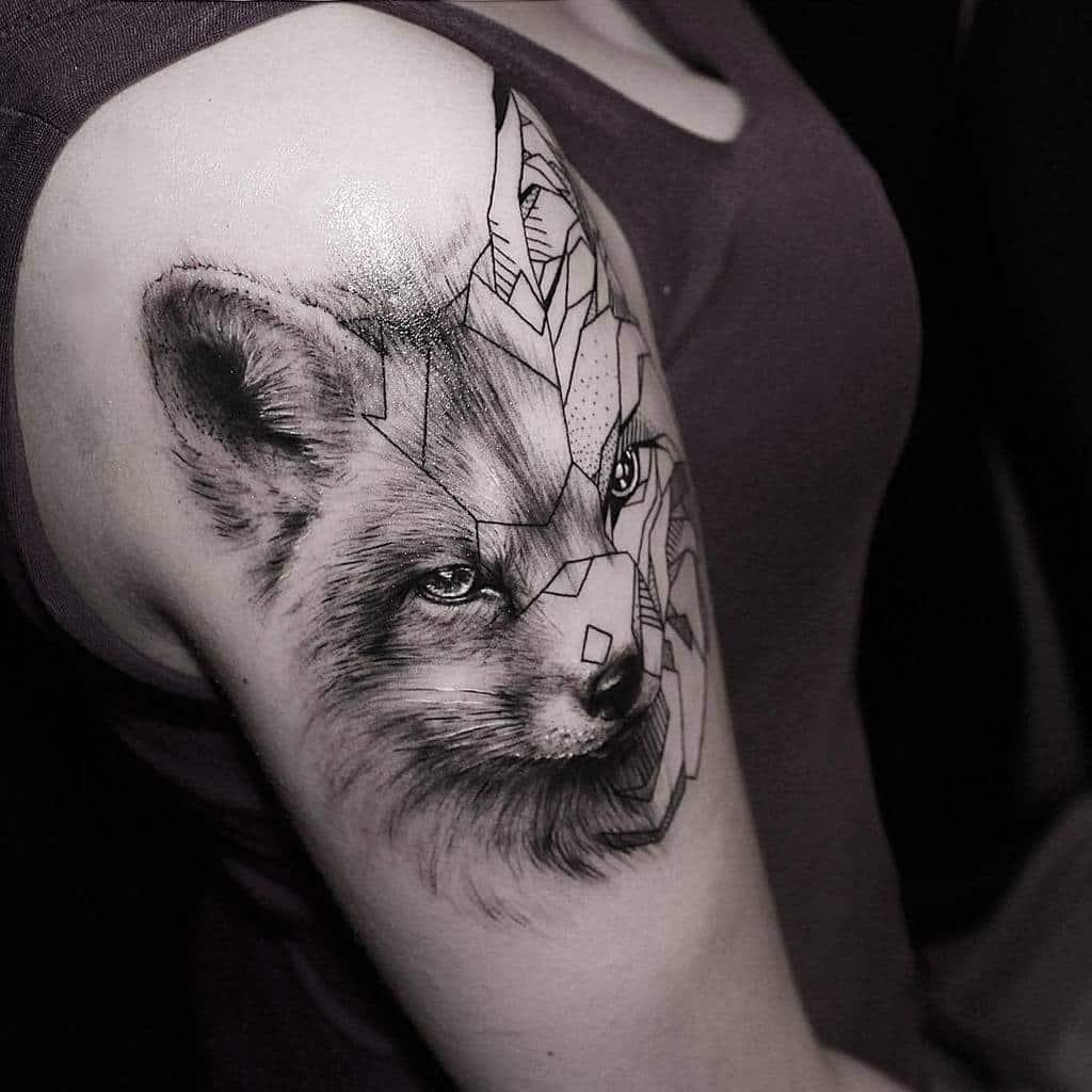 Realistic Geometric Fox Tattoo llama_tattoo
