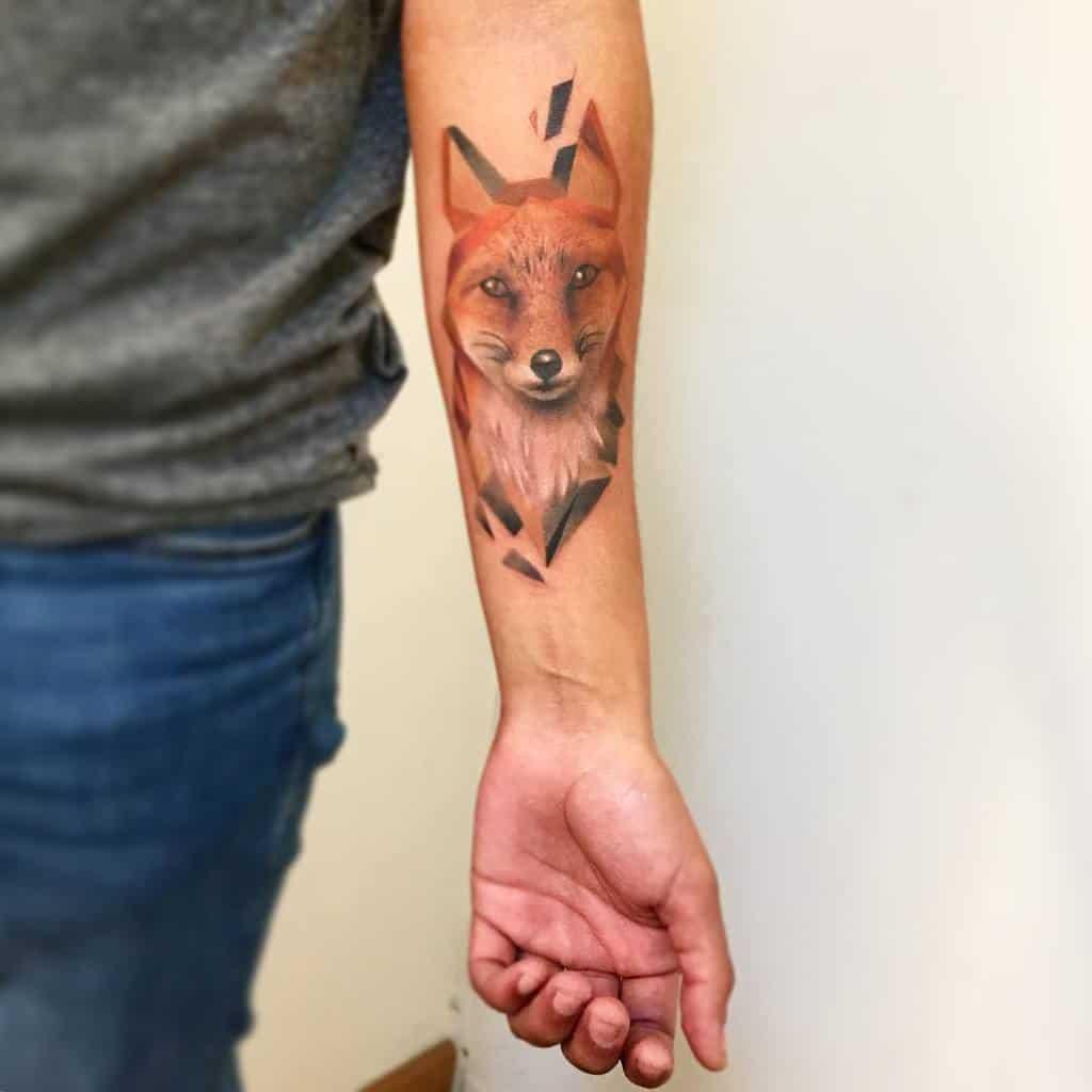 Realistic Geometric Fox Tattoo oxel_tattoo