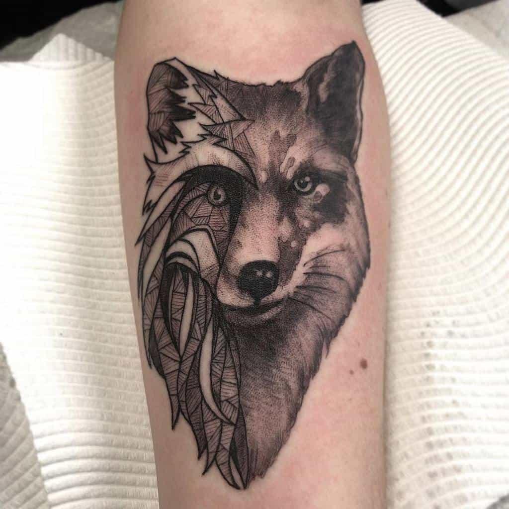 Realistic Geometric Fox Tattoo pongtattdiction