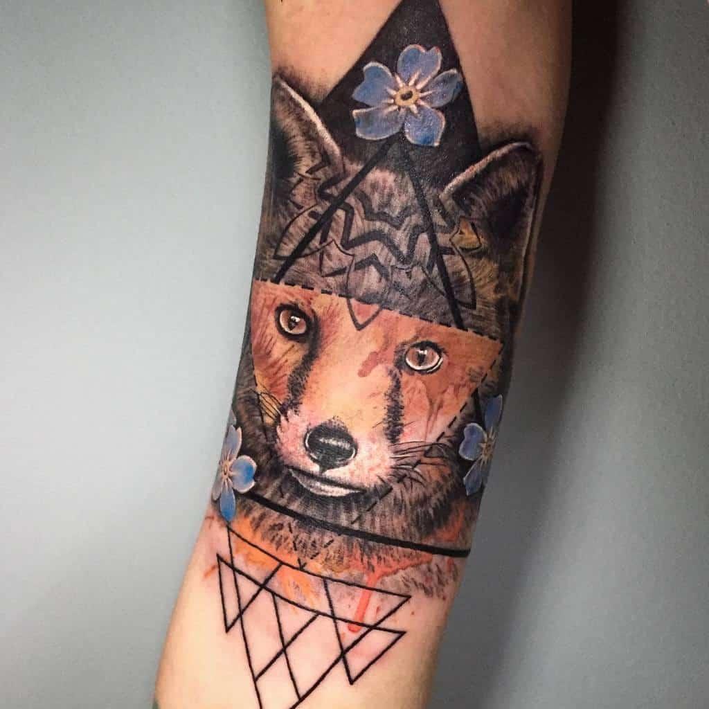 Realistic Geometric Fox Tattoo traceylconstant