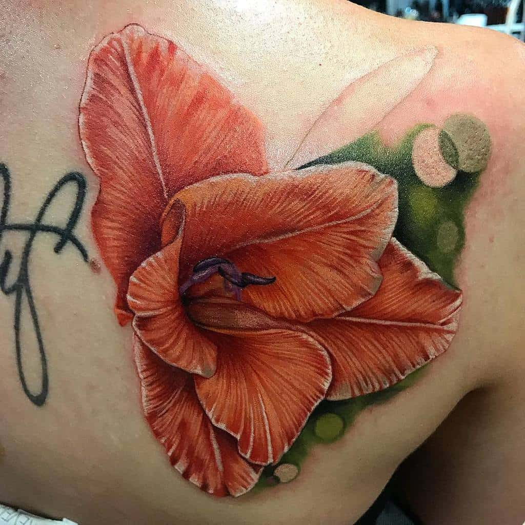 Realistic Gladiolus Flower Tattoo jonronzka