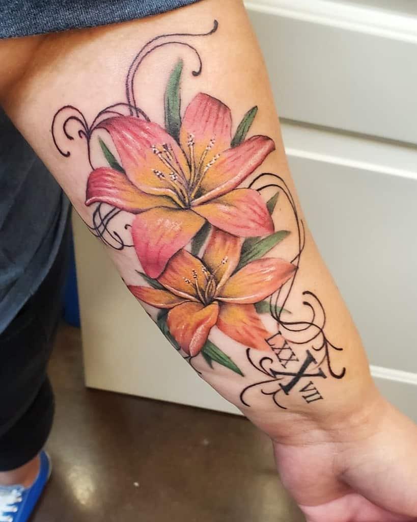 Realistic Gladiolus Flower Tattoo loutat2