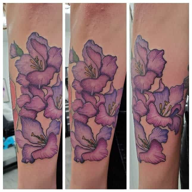 Realistic Gladiolus Flower Tattoo silver_skull_tattoo_studio