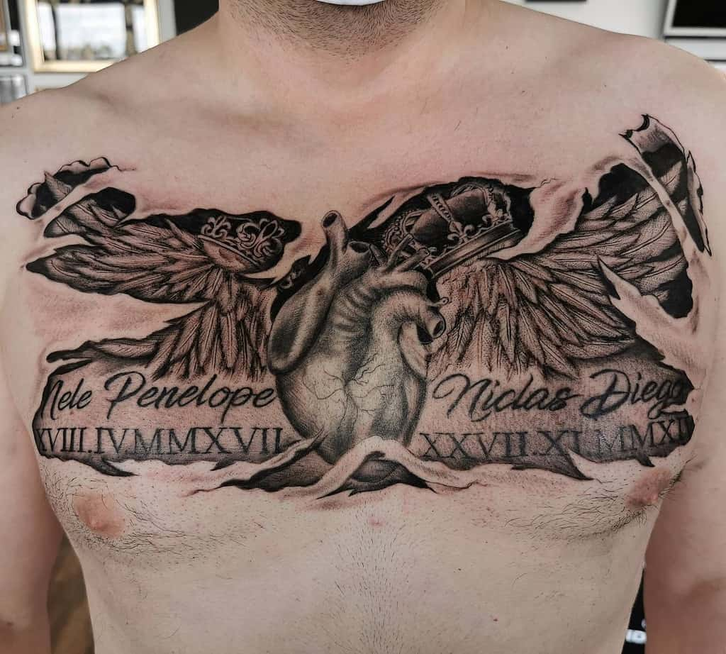 Realistic Heart With Wings Tattoo flo_tattoo