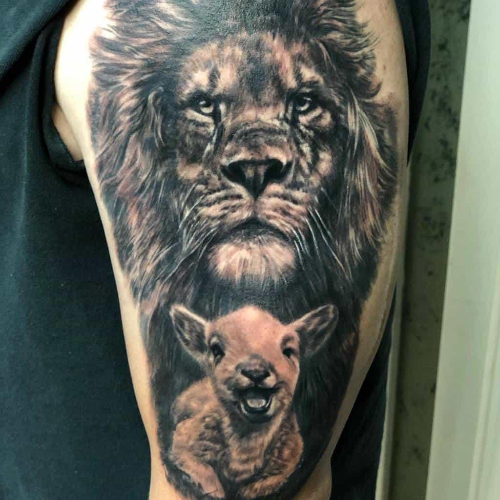 Realistic Lion and Lamb Tattoo aramisw.g.f