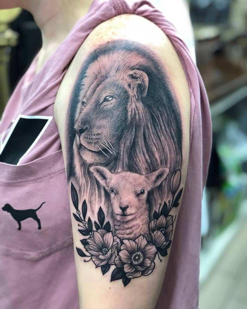 Realistic Lion and Lamb Tattoo brent_megens