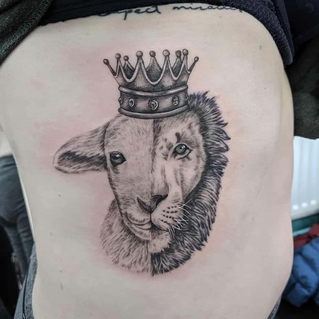 Realistic Lion and Lamb Tattoo meganevansartist