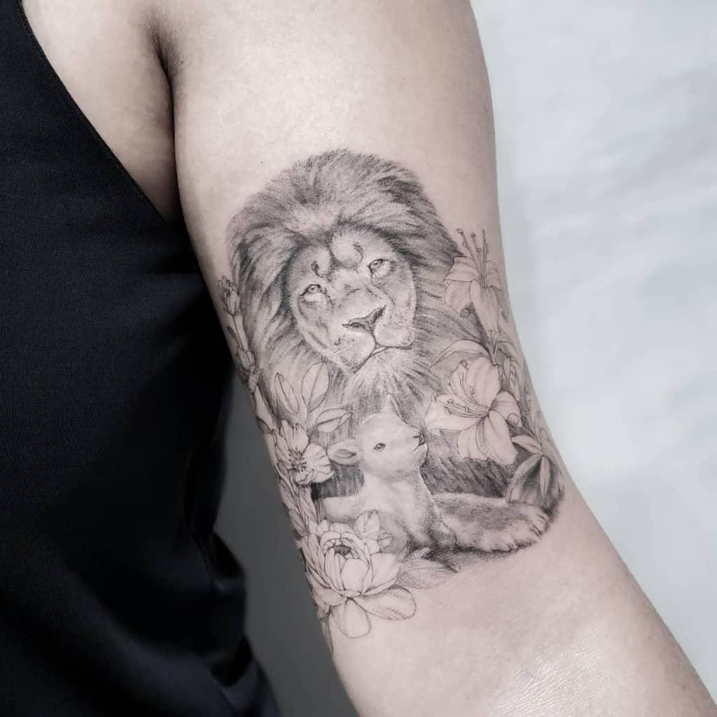 Realistic Lion and Lamb Tattoo sherriaustria