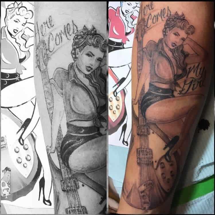 Realistic Pin Up Girl Tattoo -whiterocktattoo