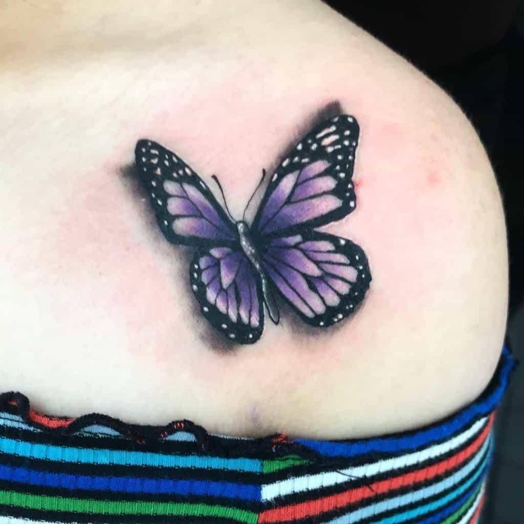 Realistic Purple Butterfly Tattoo antbenjtattoos