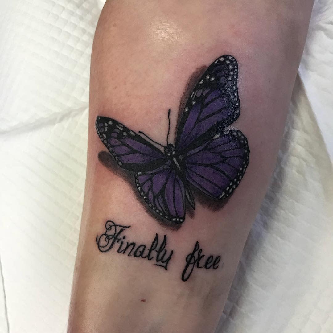 Realistic Purple Butterfly Tattoo chopztattoo