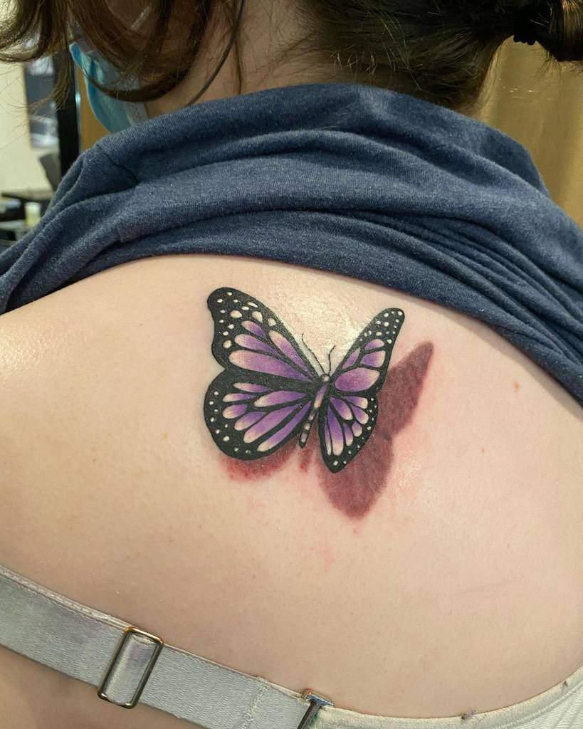 Realistic Purple Butterfly Tattoo everymothersnightmare