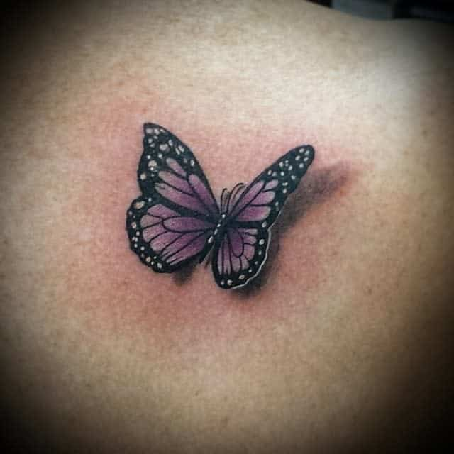 Realistic Purple Butterfly Tattoo paulspatolatattoo