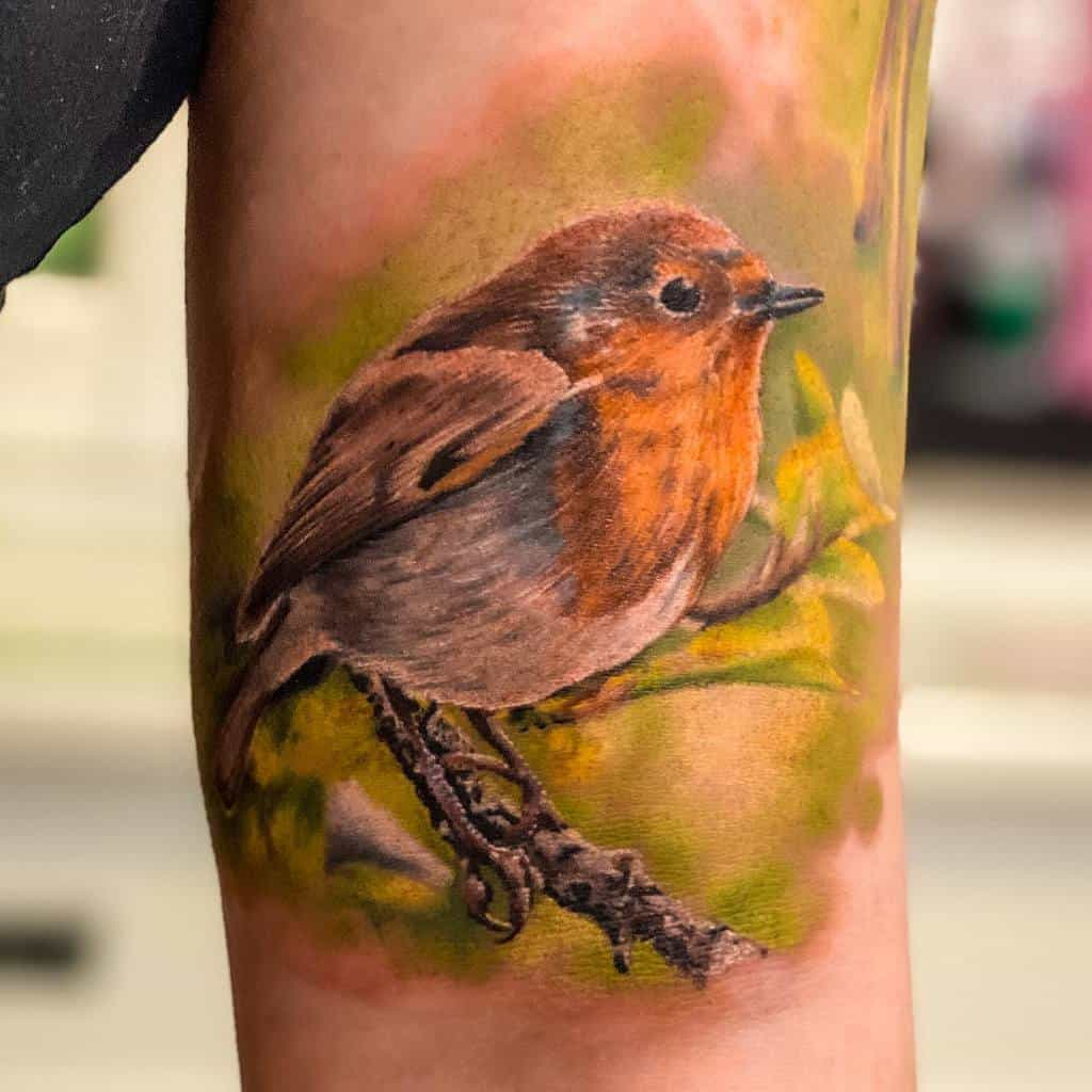 Realistic Robin Tattoo Hautcoloration Anne Schwarte