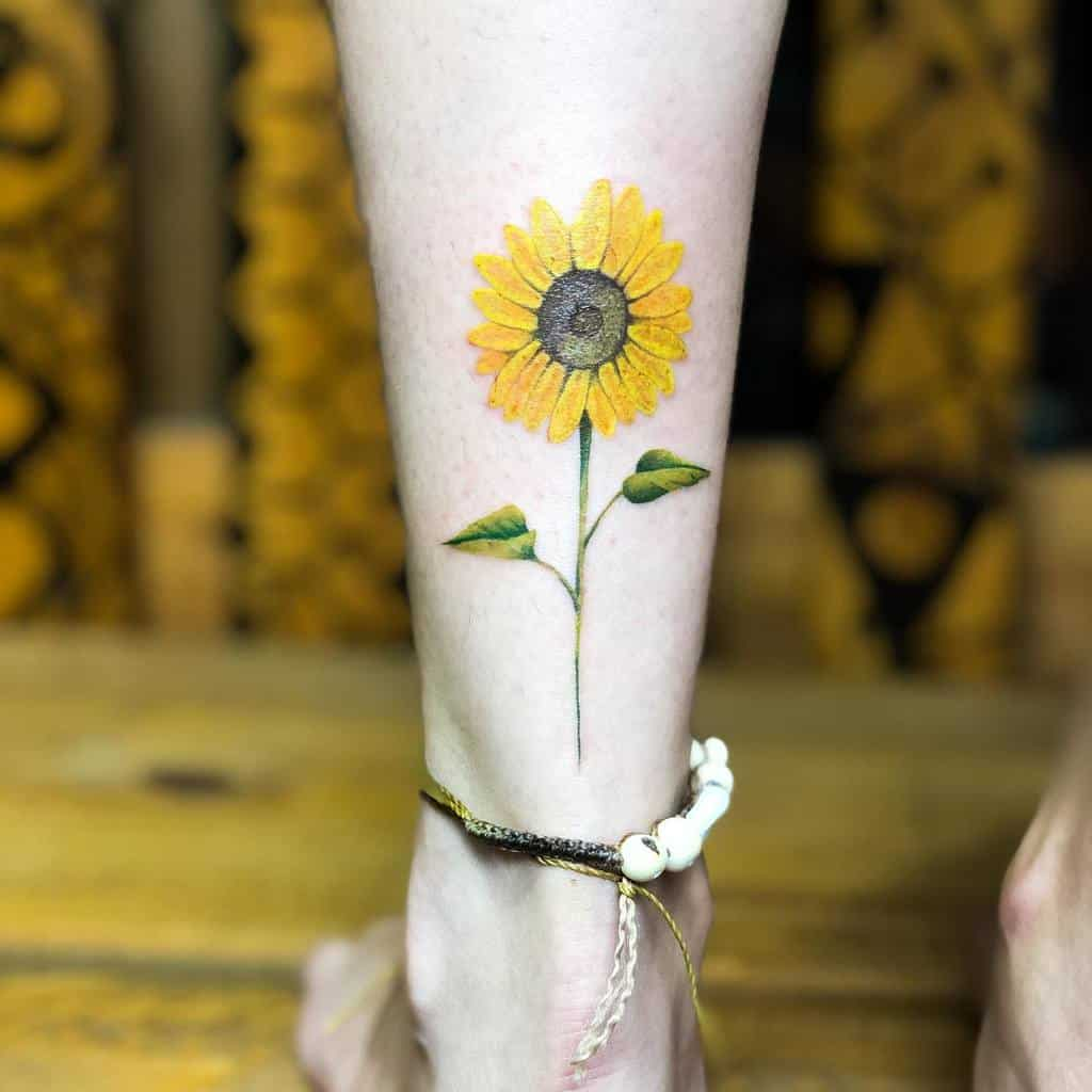 Realistic Small Sunflower Tattoo Diego Buddhatattoo
