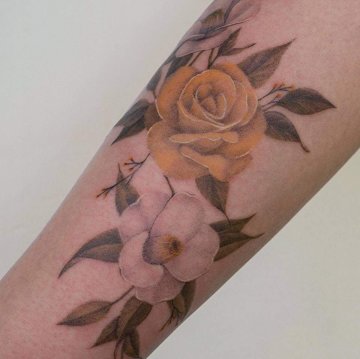 Realistic Yellow Rose Tattoo -eontattoo