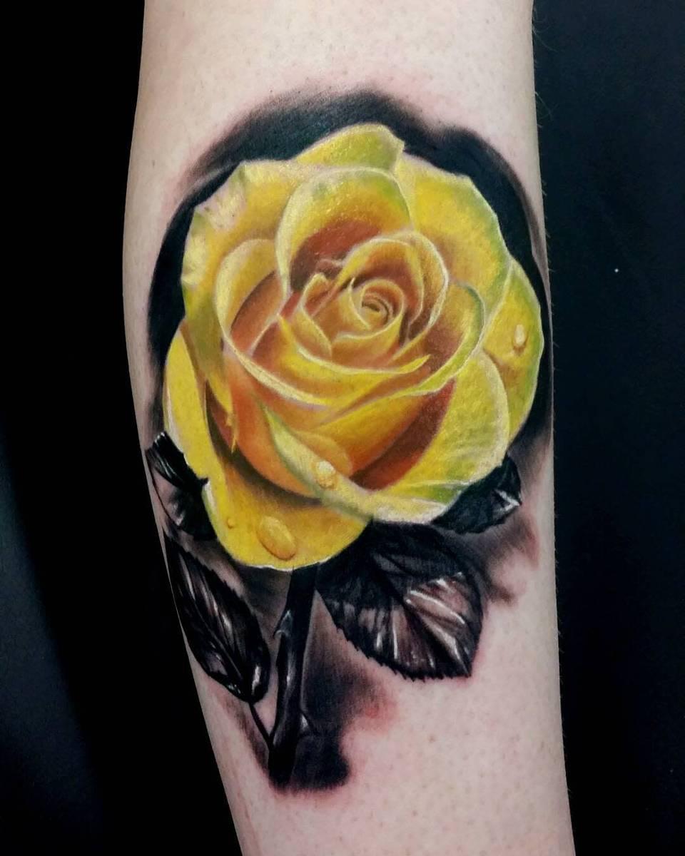 Realistic Yellow Rose Tattoo -newlifeinkff
